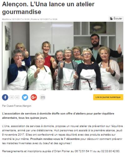 12-11-2017 - Ouest France - Alençon. L'UNA lance un atelier gourmandise