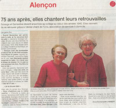 Ouest-France - 29 novembre 2017 - 75 ans après, elles chantent leurs retrouvailles
