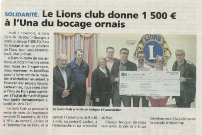 UNA Le Lions club donne 1500€ à l'UNA du bocage ornais
