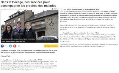 Article de presse - UNA Bocage Ornais -Dans le Bocage des services pour accompagner les proches des malades