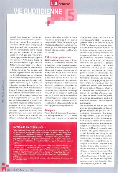 Presse spécialisée - Doc' Domicile - mai 2018 - Le bienveillage ou le management par la confiance