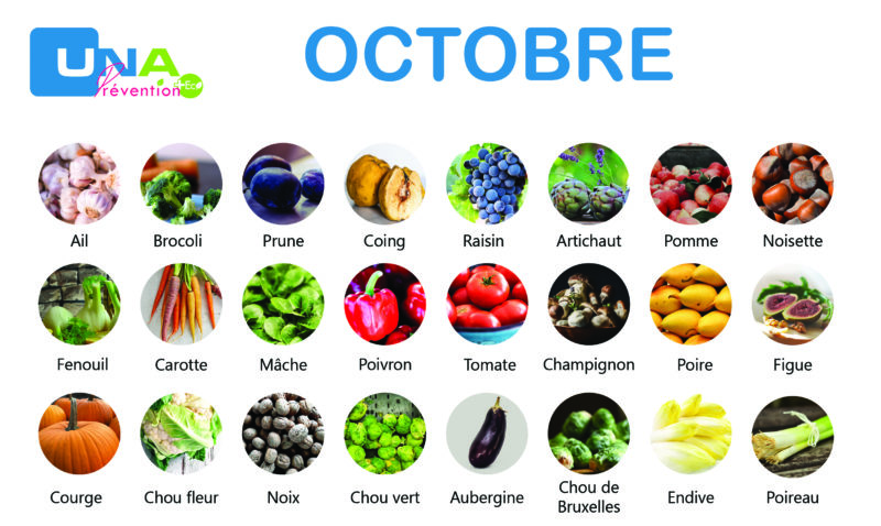 Fruits et légumes de saison d'octobre